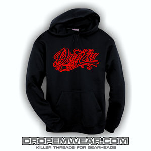 EMBROIDERED HOODIE WITH RED EMBROIDERED TATTOO SCRIPT