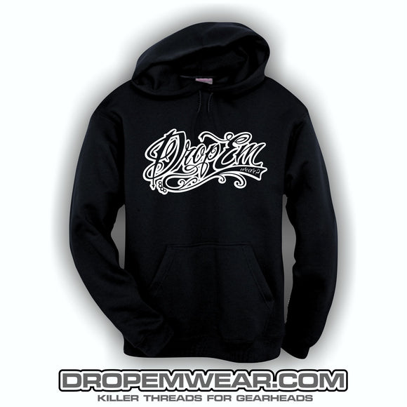 SCREEN PRINTED HOODIE WITH WHITE EMBROIDERED TATTOO SCRIPT