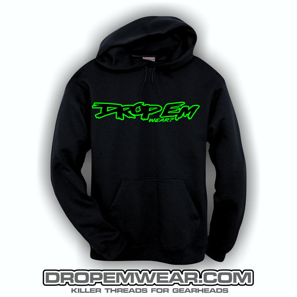BLACK EMBROIDERED HOODIE WITH BLACK AND LIME OG LOGO