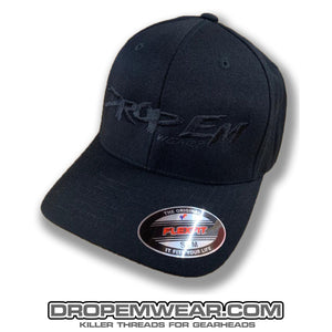 BLACK CURVED BILL FLEX FIT HAT WITH BLACK OG LOGO