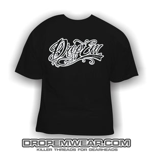 WHITE TATTOO SCRIPT FRONT PRINT ONLY BLACK SHIRT