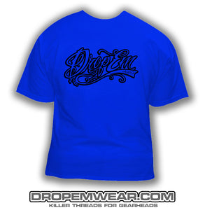 ROYAL BLUE SHIRT WITH BLACK TATTOO SCRIPT LOGO  (FRONT PRINT)