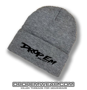 CHARCOAL BRIMMED BEANIE WITH BLACK ORIGINAL LOGO