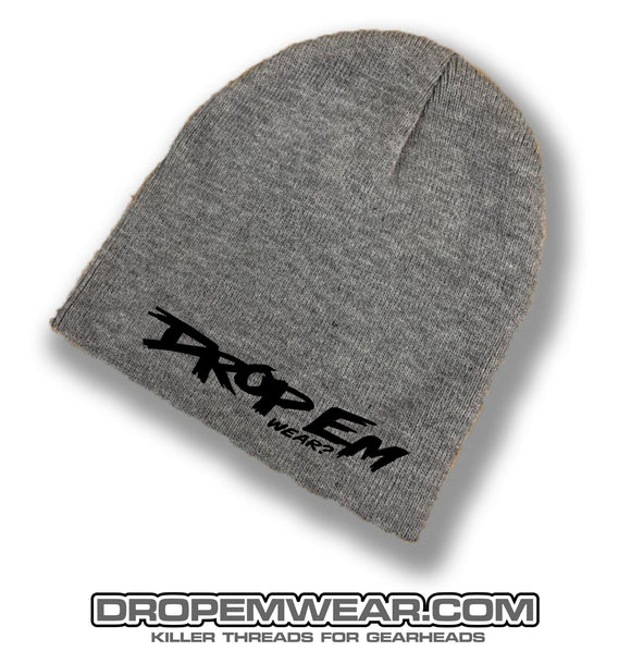 CHARCOAL NO BRIM BEANIE WITH BLACK ORIGINAL LOGO