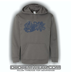 CHARCOAL EMBROIDERED HOODIE WITH NAVY EMBROIDERED TATTOO SCRIPT