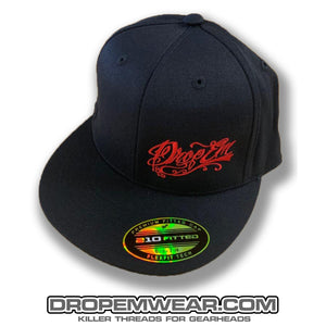BLACK FLAT BILL FLEX FIT HAT WITH RED SCRIPT LOGO ON LEFT PANEL