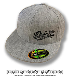 HEATHER GRAY FLAT BILL FLEX FIT HAT WITH BLACK SCRIPT LOGO ON LEFT PANEL