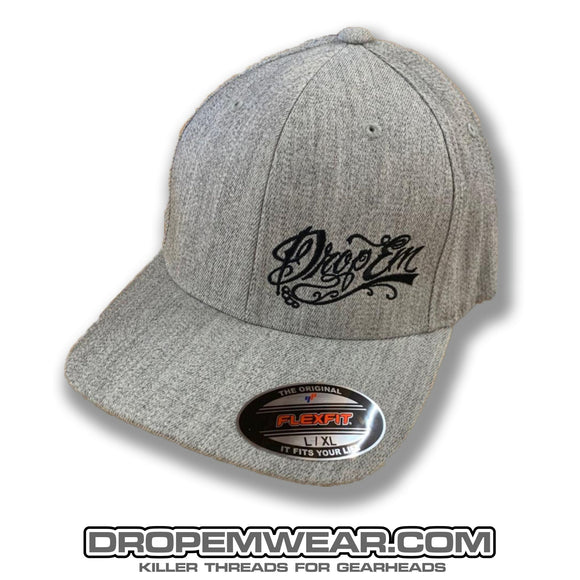 HEATHER GREY CURVED BILL FLEX FIT HAT WITH BLACK SCRIPT LOGO