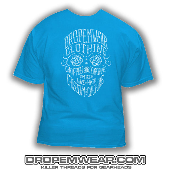 LADIES DAY OF THE DEAD T-SHIRT BLUE
