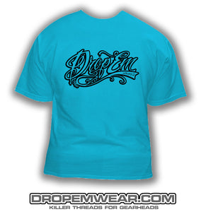 LIGHT BLUE SHIRT WITH BLACK TATTOO SCRIPT LOGO  (FRONT PRINT)