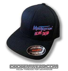 BLACK CURVED BILL FLEX FIT HAT WITH MINITRUCKIN IS NOT DEAD