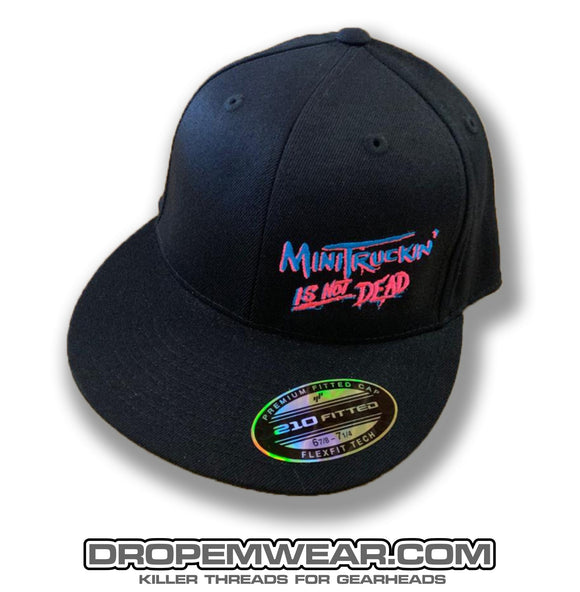 BLACK FLAT BILL FLEX FIT HAT WITH MINITRUCKIN IS NOT DEAD
