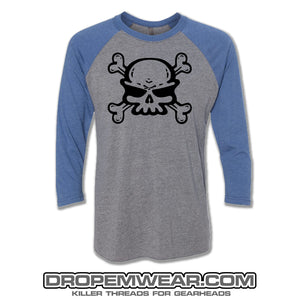 RAGLAN LIGHT BLUE/HEATHER WITH SKULL ON FRONT