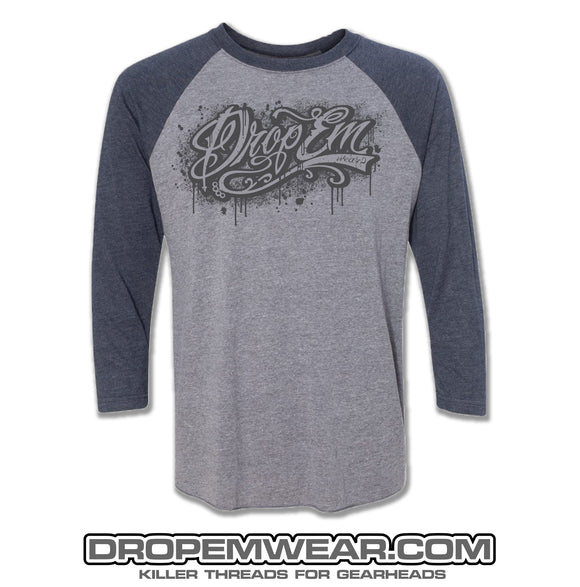 RAGLAN NAVY BLUE WITH DROP EM WEAR GRAFFITI LOGO
