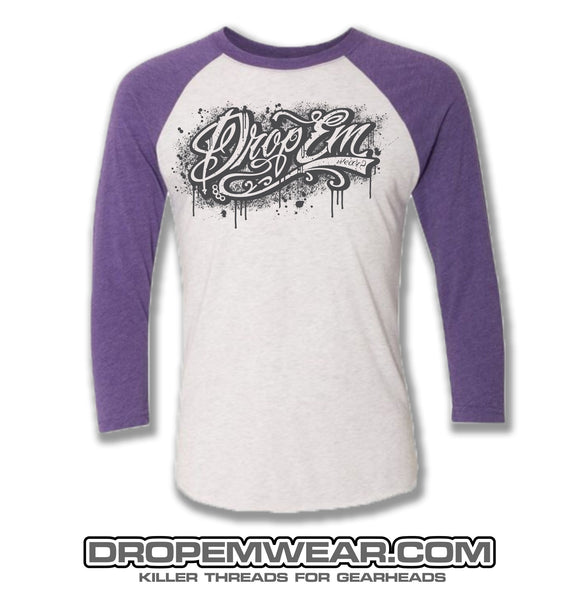 RAGLAN PURPLE WITH DROP EM WEAR GRAFFITI LOGO
