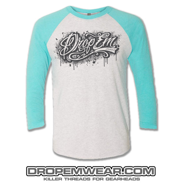 RAGLAN TAHITI BLUE WITH DROP EM WEAR GRAFFITI LOGO