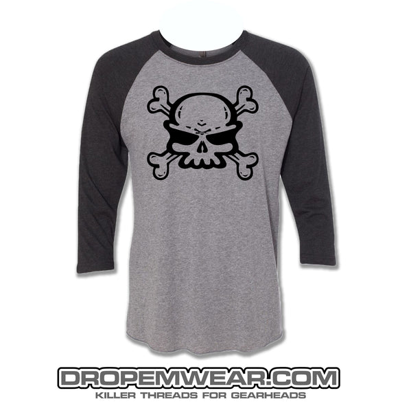 RAGLAN BLACK/HEATHER WITH SKULL ON FRONT