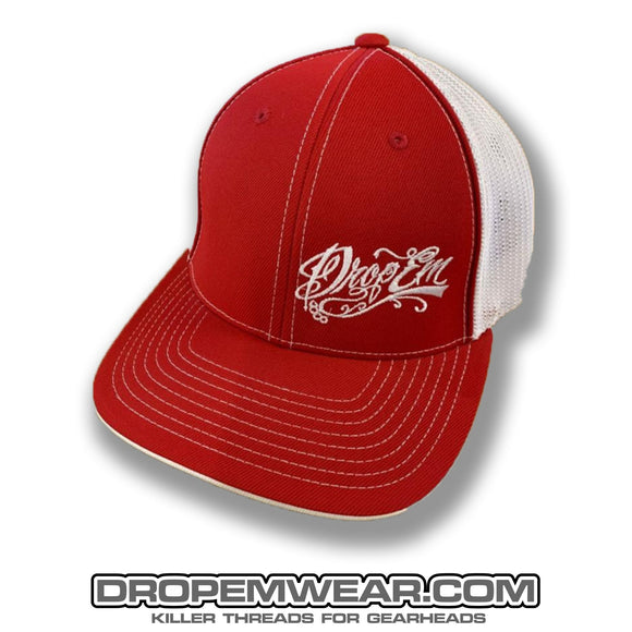 PACIFIC HEADWEAR CURVED BILL FITTED TRUCKER HAT RED/WHITE WITH TATTOO SCRIPT LOGO ON LEFT PANEL