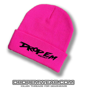 PINK BRIMMED BEANIE WITH BLACK ORIGINAL LOGO
