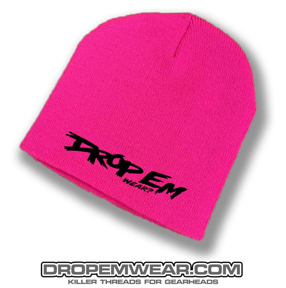 PINK NO BRIM BEANIE WITH BLACK ORIGINAL LOGO
