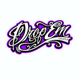 2X3 DROP EM WEAR TATTOO SCRIPT STICKER (TONS OF COLORS)