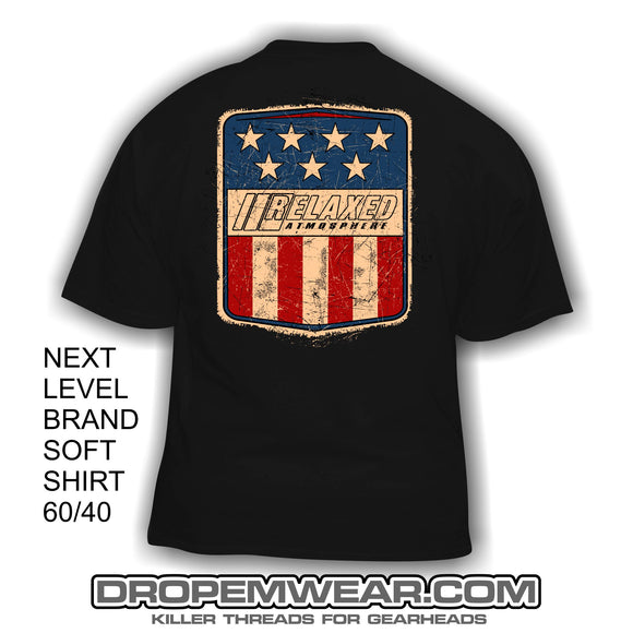 RELAXED RED WHITE BLUE VINTAGE MERICA SHIRT  (NEXT LEVEL SOFT CVC T-SHIRT)
