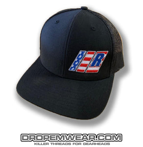 RELAXED AMERICAN FLAG BARS AND R LOGO ON BLACK/BLACK SNAP BACK TRUCKER