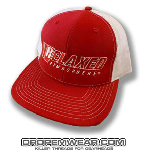 RELAXED FULL LOGO RED WHITE SNAP BACK TRUCKER WITH RED FILL AND WHITE OUTLINE
