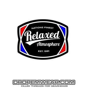 RELAXED RED WHITE BLUE RETRO STICKER 3X3