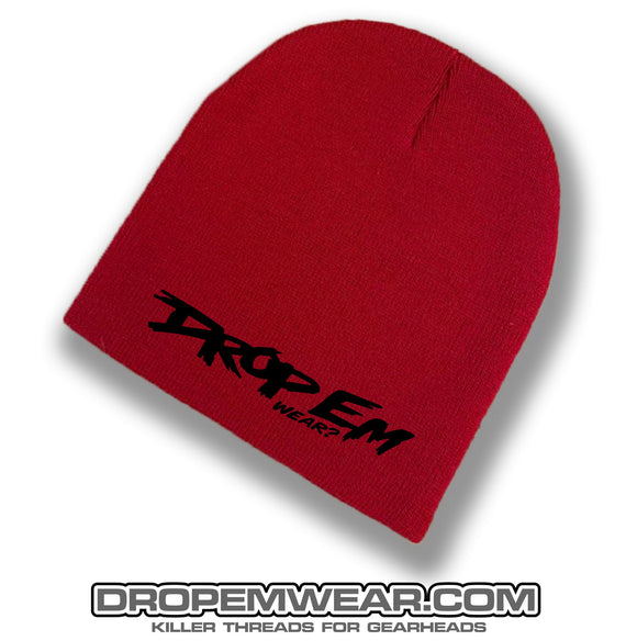 RED NO BRIMMED BEANIE WITH BLACK ORIGINAL LOGO