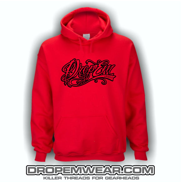 RED EMBROIDERED HOODIE WITH BLACK TATTOO SCRIPT