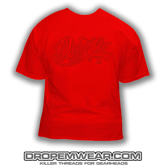 RED SHIRT WITH RED TATTOO SCRIPT LOGO  (FRONT PRINT)