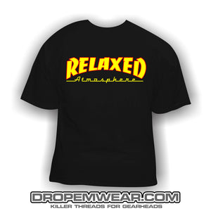 RELAXED THRASHER LOGO BLACK SHIRT SHIRT YELLOW FILL WITH RED OUTLINE