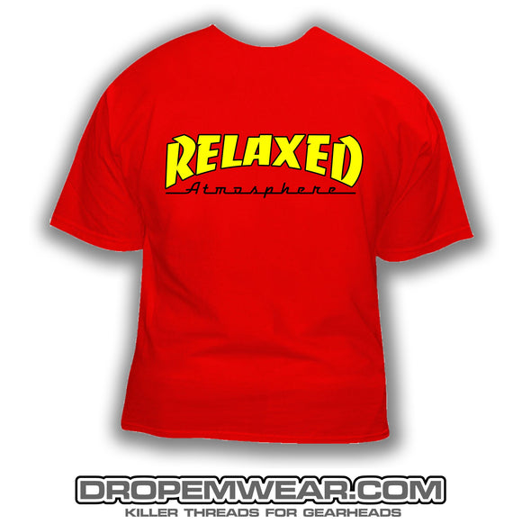 RELAXED THRASHER LOGO RED SHIRT SHIRT YELLOW FILL WITH BLACK OUTLINE