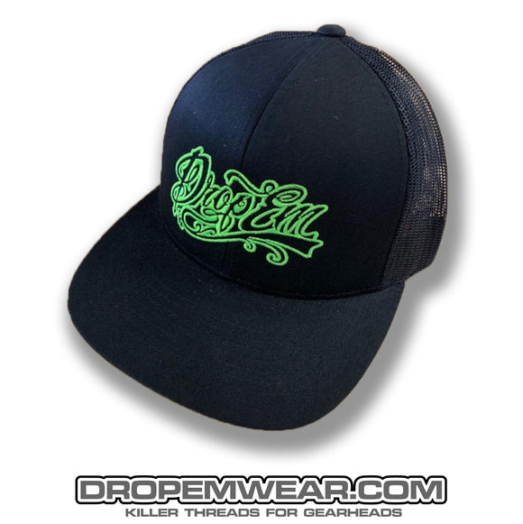 SNAP BACK TRUCKER HAT BLACK/BLACK LIME LOGO
