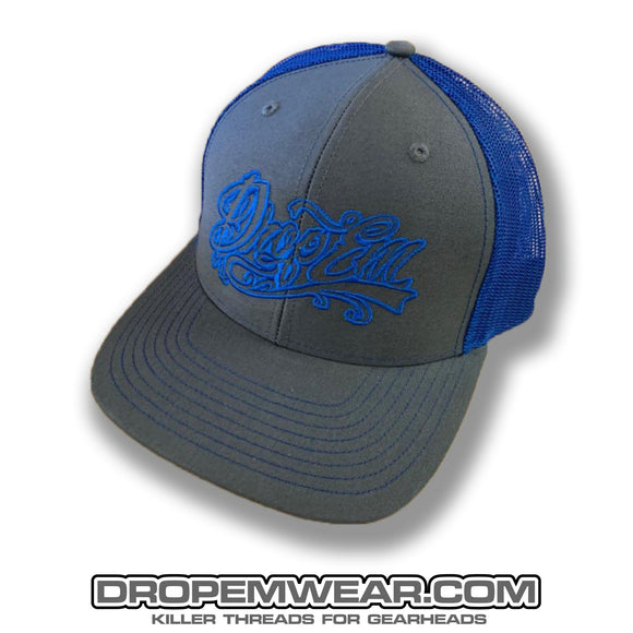 SNAP BACK TRUCKER HAT GREY/ROYAL BLUE