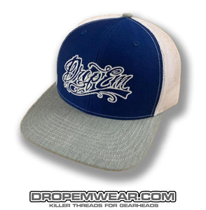 SNAP BACK TRUCKER HAT GREY/BLUE/WHITE