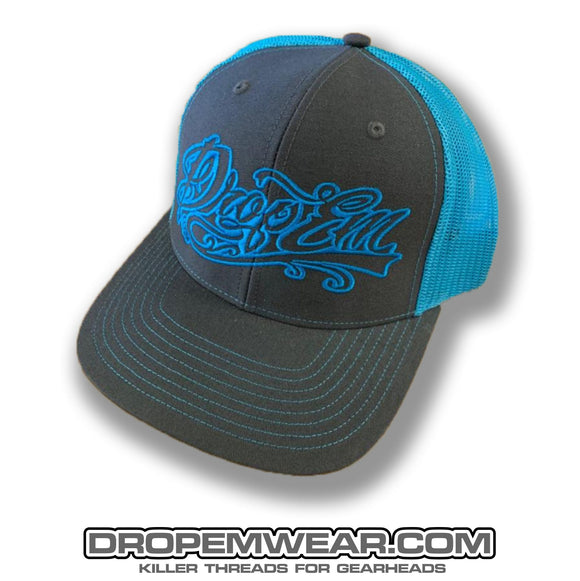 SNAP BACK TRUCKER HAT GREY/NEON BLUE