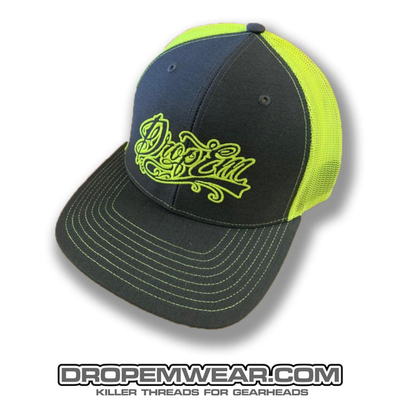 SNAP BACK TRUCKER HAT GREY/NEON YELLOW