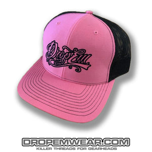 SNAP BACK TRUCKER HAT PINK/BLACK