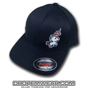 BLACK CURVED BILL FLEX FIT HAT WITH UNICORN DONUT