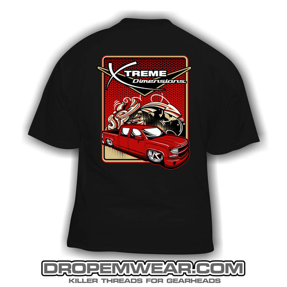 BLACK XTREME DIMENSIONS RED CHEVY GRAFFITI SHORT SLEEVE T-SHIRT