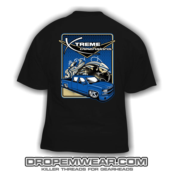 BLACK XTREME DIMENSIONS BLUE CHEVY GRAFFITI SHORT SLEEVE T-SHIRT