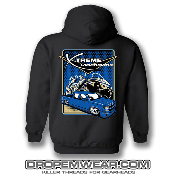 BLACK XTREME DIMENSIONS BLUE CHEVY GRAFFITI HOODIE