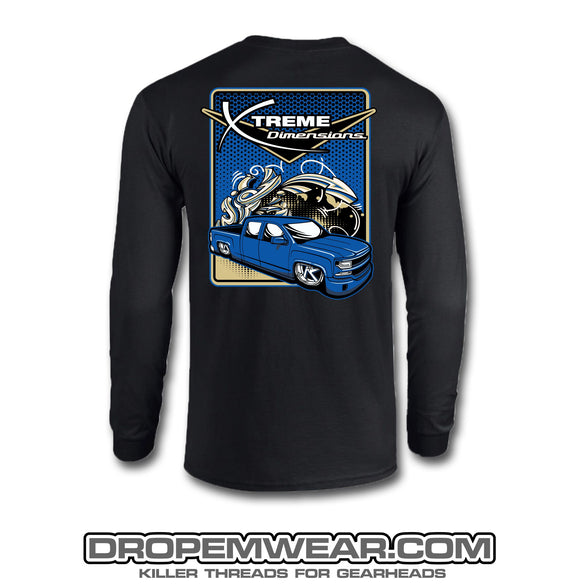 BLACK XTREME DIMENSIONS BLUE CHEVY GRAFFITI LONG SLEEVE T-SHIRT