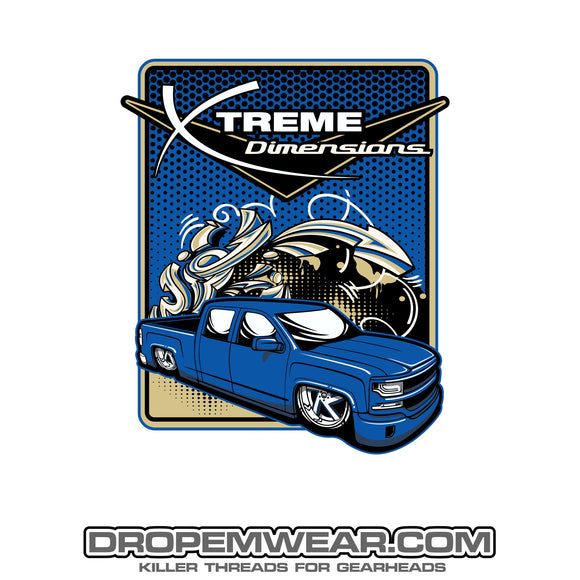 2x3 XTREME DIMENSIONS BLUE CHEVY GRAFFITI STICKER