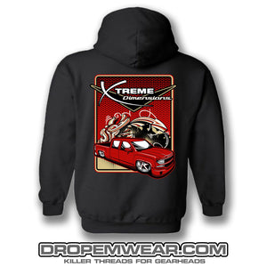 BLACK XTREME DIMENSIONS RED CHEVY GRAFFITI HOODIE