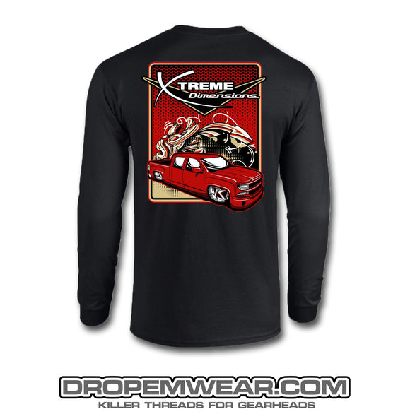 BLACK XTREME DIMENSIONS RED CHEVY GRAFFITI LONG SLEEVE T-SHIRT
