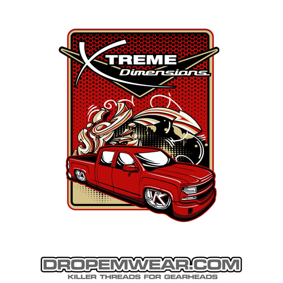 2x3 XTREME DIMENSIONS RED CHEVY GRAFFITI STICKER