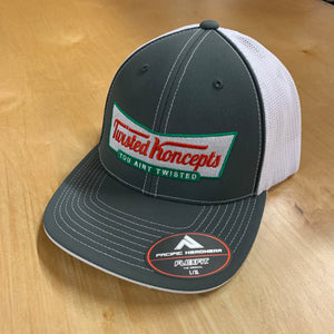TWISTED KONCEPTS KRISPY KREME LOGO LOGO ON GREY/WHITE FITTED TRUCKER HAT